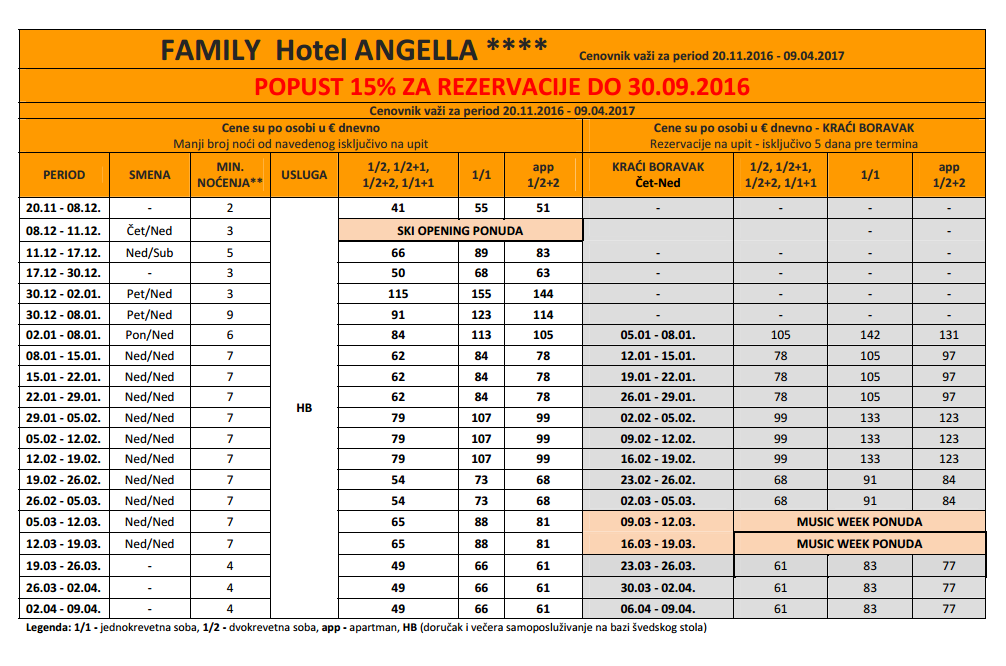 Hotel Angela Kopaonik - zima 2017